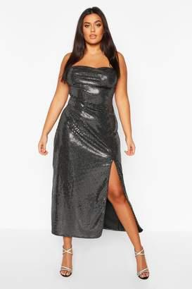 boohoo Plus Sequin Cowl Neck High Split Maxi Dress