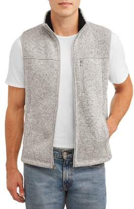 George Men's and Big Men's Sherpa Sweater Fleece Vest, up to Size 3XL