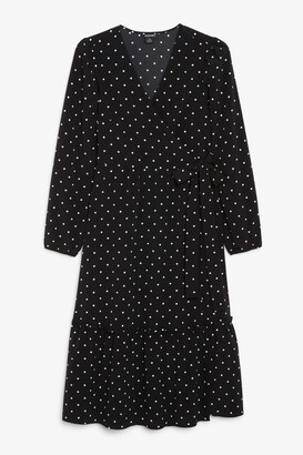 Monki Ruffle hem wrap dress