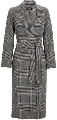 S Max Mara Fiorito Houndstooth Wool Wrap Coat