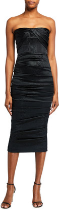 Alex Perry Alexis Reptile Satin Strapless Dress