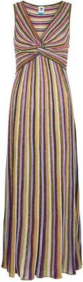 M Missoni Striped metallic-weave maxi dress