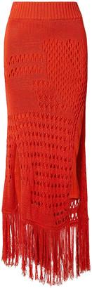 Altuzarra Fringe-trimmed Open-knit Cotton-blend Midi Skirt