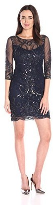 Pisarro Nights Women's 3/4 Mesh Sleeve Illusion Neck Short Beaded Dress
