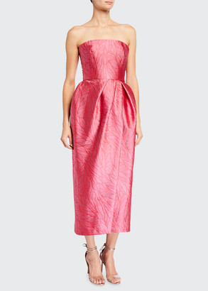 Monique Lhuillier Strapless Slit Brocade Dress