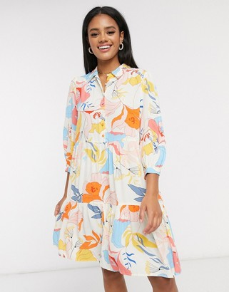 Y.A.S mini shirt dress in bold floral