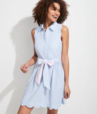 Vineyard Vines Scallop Seersucker Sleeveless Shirt Dress