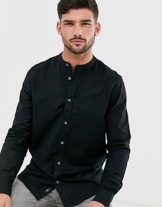Burton Menswear oxford shirt with grandad collar in black