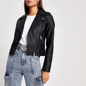River Island Black faux leather studded biker jacket