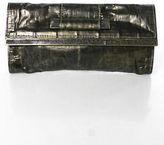 R & Y Augousti R&Y Augousti Gold Brass Eel Textured Embellished Rectangular Small Clutch Bag
