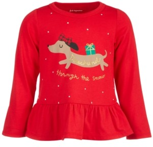 First Impressions Baby Girls Holiday Dachshund Peplum T-Shirt, Created for Macy's