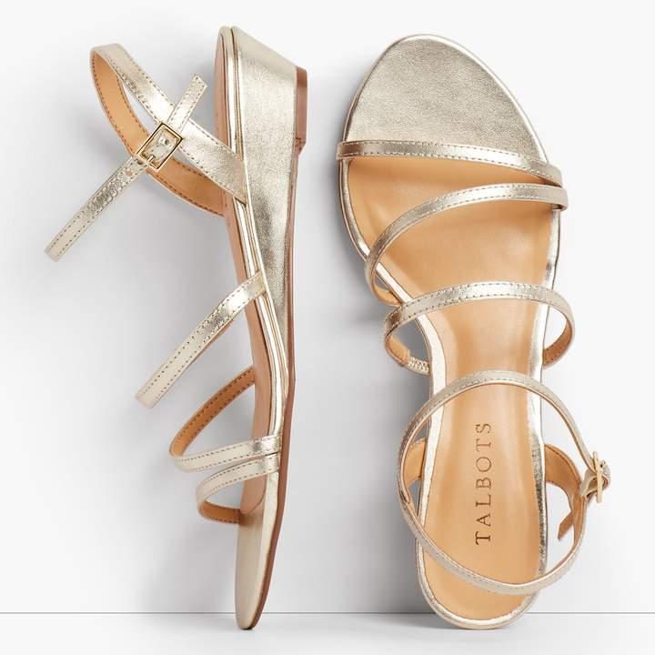 Talbots Capri Multi-Strap Mini-Wedge Sandals - Metallic