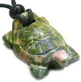 BestAmulets Amulet Lucky Charm Turtle Unakite Gemstone Spiritual Protection Powers Pendant Necklace