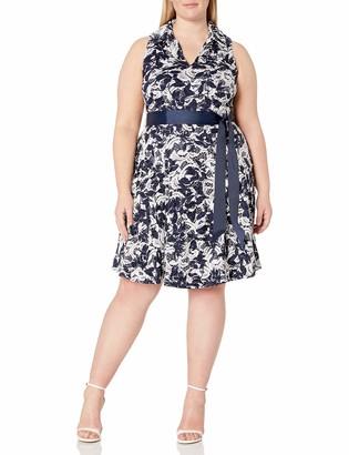 Robbie Bee Plus Size Womens Sleeveless Printed lace Shirtdress