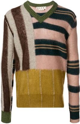 Marni patched stripe V-neck sweater