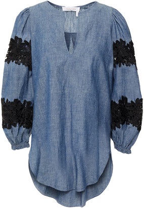 See by Chloe Guipure Lace-trimmed Cotton And Hemp-blend Chambray Top