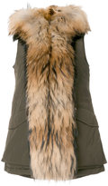 Woolrich racoon fur trim hooded gilet