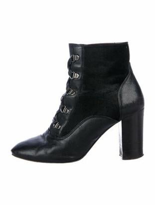 Lanvin Ponyhair Lace-Up Boots Black