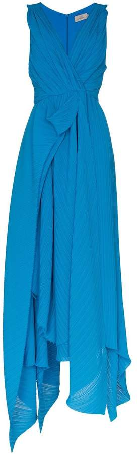 Preen by Thornton Bregazzi Kimberly V-neck plissé maxi-dress