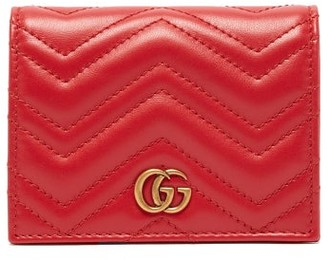 Gucci GG Marmont Quilted-leather Wallet - Womens - Red