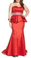 Mac Duggal Plus Size Women's Beaded Bustier Peplum Gown