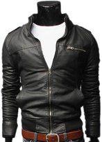 Meiruian Men's Jacket Faux Leather Zipper Sweat Jacket Leatherette S-XXXL
