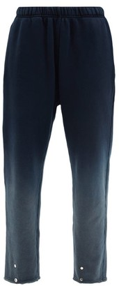 LES TIEN Snap-front Ombre Brushed-back Cotton Track Pants - Navy