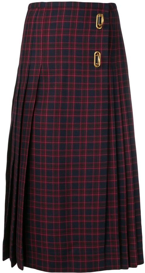 Burberry Arroux check print pleated wool skirt