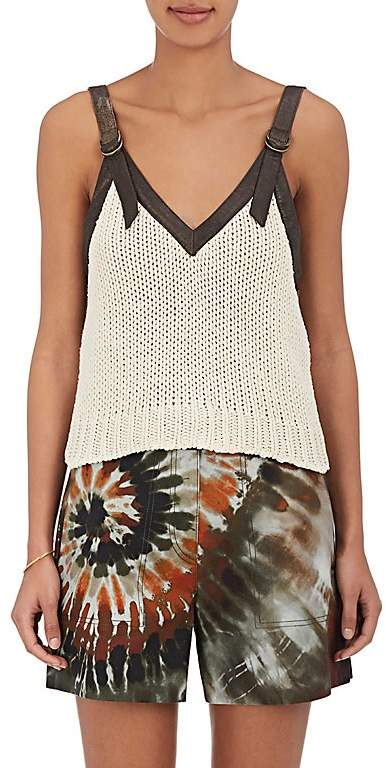 Valentino WOMEN'S LEATHER-TRIMMED SILK CAMI TOP