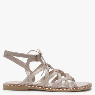 Daniel Invie Beige Leather Studded Gladiator Sandals