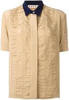 Marni ruched short sleeve shirt - women - Silk/Acetate - 44