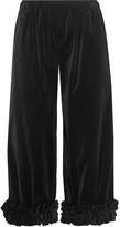 Comme des Garcons Cropped Ruffle-trimmed Cotton-velvet Wide-leg Pants - Black