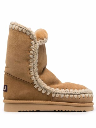 Mou whipstitch-detail suede Eskimo boots