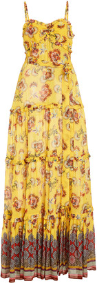 Alexis Lussa Ruffled Printed Chiffon Maxi Dress