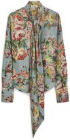 Mulberry Adelaide Blouse Castle Blue Floral Animal Shiny Silk