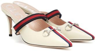 Gucci Web leather mules