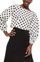 Topshop Polka Dot Balloon Sleeve Crop Top