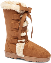 Cognac Lace-Up Front Faux Fur Winter Boot