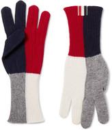 Thom Browne Colour-block Merino Wool Gloves - Navy