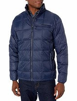 Hawke & Co Men's Box Quilt Packable Down Jacket   Rain and Wind Resistant Shell with Stand Collar