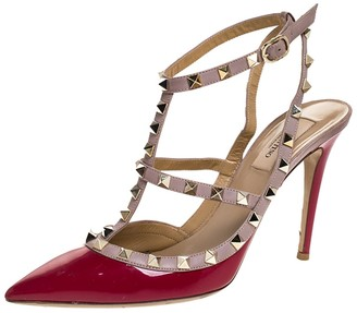 Valentino Dark Pink Patent And Leather Rockstud Pointed Toe Sandals Size 39.5