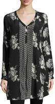 Tolani Brooke Long Easy Floral-Print Tunic, Blossom, Plus Size