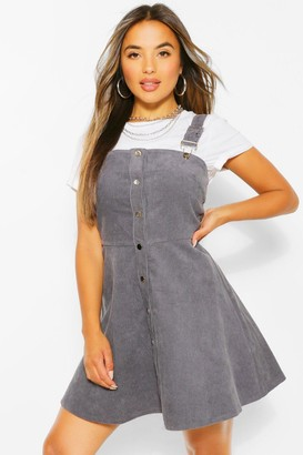 boohoo Petite Cord Button Front Pinafore