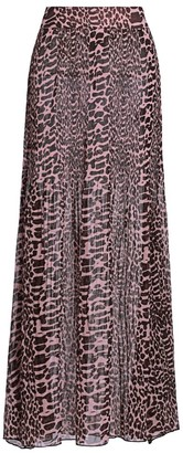 Ganni Pleated Animal Print Georgette Maxi Skirt