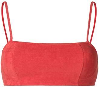 Ganni towelled bikini top