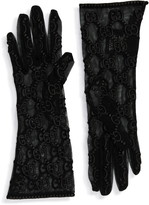 Gucci GG Embroidery Lace Tulle Gloves