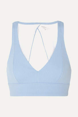 YEAR OF OURS Veronica Cutout Ribbed Stretch Sports Bra - Light blue
