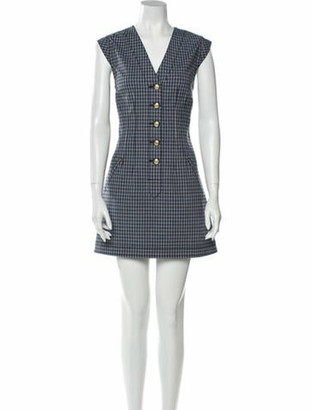 Derek Lam Plaid Print Mini Dress Blue