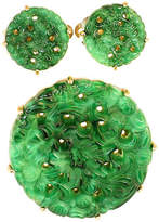 One Kings Lane Vintage Ciner Carved Faux-Jade Brooch Suite
