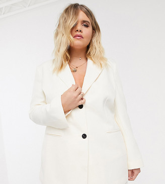 ASOS DESIGN Curve pop suit blazer in ivory